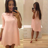 PURE COLOR FASHION IRREGULAR DRESS