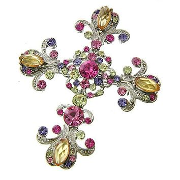 A Pink & Silver Crystal Cross Brooch