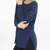 Marl Oversized Open Cable Knit Tunic Sweater from EXPRESS