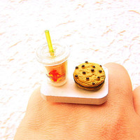 Kawaii Food Ring Bubble Tea Chocolate Cookie by SouZouCreations