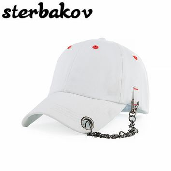 Fashion personality chain baseball cap hat bone Gorras Snapbacks Net hat personality hip hop hat man and woman sun hat