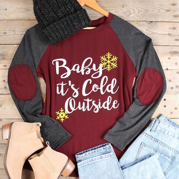 Women T-Shirt Long Sleeve Baby It's Cold Outside Tee