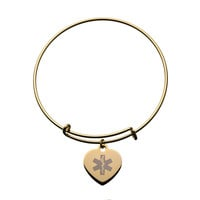 Gold-Plated Bangle Bracelet with Engravable Heart Charm