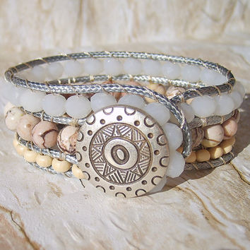 Beaded Leather Cuff Leather Wrap Bracelet Womens Bracelet Leather Jewelry Bohemian Bracelets for Woman Bracelet Wrap Leather Boho Bracelet