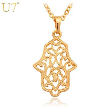 U7 Vintage Jewelry New Trendy Women/ Men Gift Lucky Jewelry Gold Color Link Chain Hamsa Hand Pendant Necklaces P399