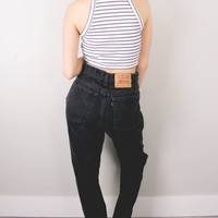 Vintage (LARGE) Levis 550 Black High Waisted Denim Jeans