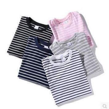 Simple Design Stripes Round-neck Couple Short Sleeve T-shirts