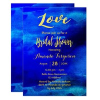 Bridal shower dark blue watercolor golden letters card
