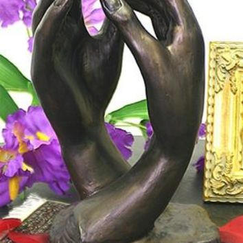 Cathedral Clasping Hands Statue by Rodin 10H