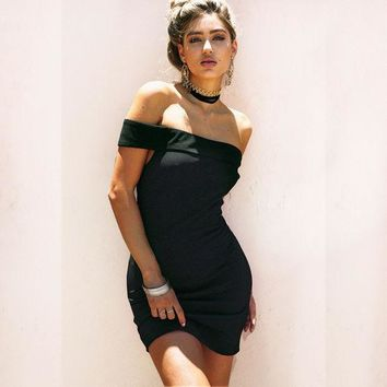 ONETOW Bandages Strapless Sexy Pen Dress One Piece Dress [11744785103]