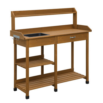 Patio Potting Bench with Sink Drawer and Storage Shelves