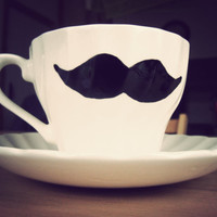 Moustache teacup and saucer  hand drawn & vintage by MrTeacup