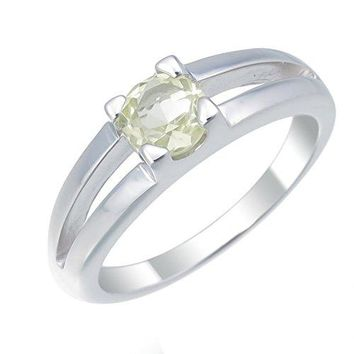 0.50 Carats 6MM Round Lemon Quartz Solitaire Ring .925 Sterling Silver