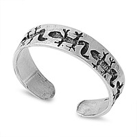 Sterling Silver Lizard Hieroglyphics 5MM  Toe Ring/ Knuckle/ Mid-Finger