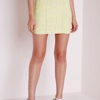 Missguided - Lace & Ladder Detail Mini Skirt Yellow