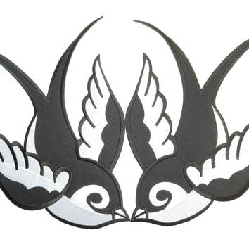 "2x SWALLOWS Rockabilly Biker Big Embroidered Back Patch 11.2""/28.5cm"