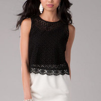 LYNDSIE EYELET CROP TOP