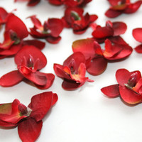 Silk Flowers - 10 Deep Red Mini Orchids 1.5 inch size - Artificial Flowers- Millinery Craft