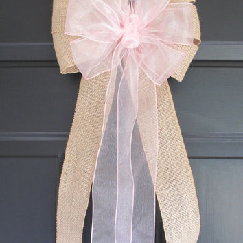 Set of 10 Pink over Natural Burlap Bows, Wedding Decorations, Church Pew Aisle Chair, Party, Bridal Baby Shower
