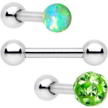 "16 Gauge 1/4"" Lime Faux Opal Ball Cartilage Tragus Earring 3 Pack"