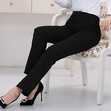 Full length professional business Formal pants women trousers girls slim female work wear office career 5XL plus size clothing