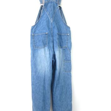 Vintage Jean Bib Overalls Denim Carpenter 1990s Engineer Work Pants Blue Farmer Bibs workwear Jeans Women's Size Small
