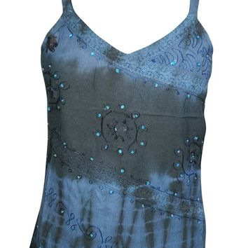 Always the Fun One Top Sequin Embroidered Blue Boho Chic Cami Strappy Tank Tops
