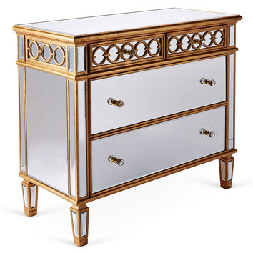 Leila Mirrored Cabinet, Gold, Cabinets & Hutches