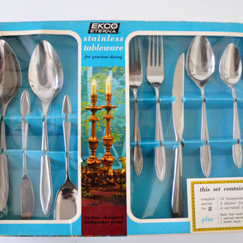 Vintage Ekco Eterna Tribute Flatware, NIB, 52 Pieces, Service for Eight, Serving Spoons, Butter Knife, Sugar Spoon, Stainless Steel