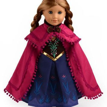 "Doll Clothes Fits American Girl 18"" Inch Outfit Princess Anna Dress"