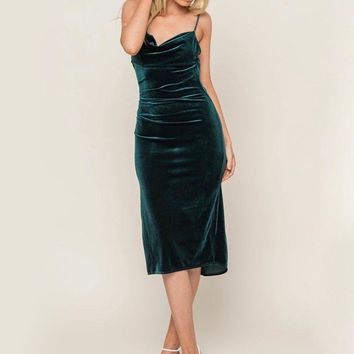 Lush Clothing - Velvet Cowl Neck Midi Dress in Hunter Green