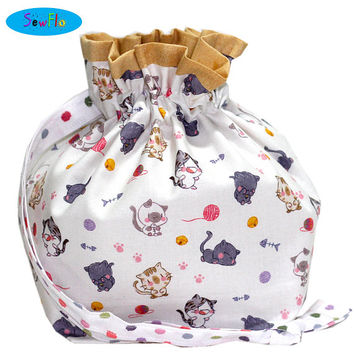 NEW! Cats Sock Bag-Chibi Sock Knitting Bag-Cute Sock Project Bag-Knitting Project Bag-Cats and Yarn Bag-Drawstring Bag-Bag for Knitters