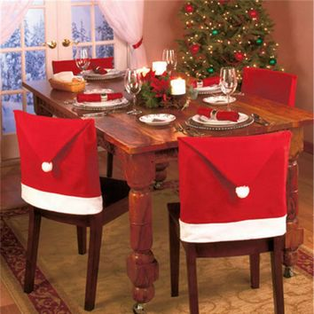 1pc New Year Christmas Red Chair Cover
