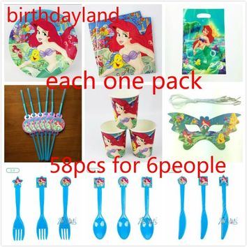 58pcs little Mermaid cup plate napkin straw gift bag knife fork spoon mask Kids Birthday Party Decoration 6people set