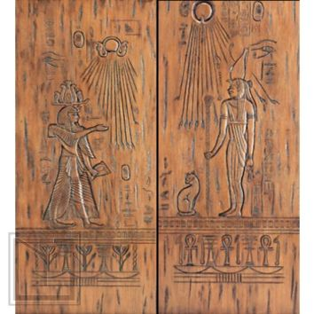 Egyptian Style Hand Carved Prehung Double Doors, Solid Mahogany