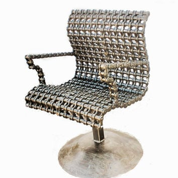 Modern Accent Arm Chair, Chain Art, Unique Furniture by Recycled Salvage Chain Art Design