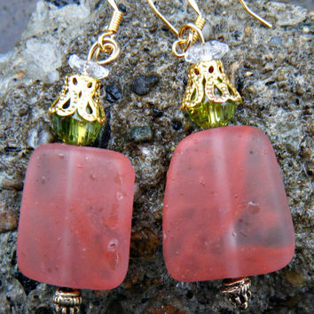 Pretty in Pink. Tumbled Strawberry Nugget Sea Glass Earrings. Pink sea glass earrings with crystal beads
