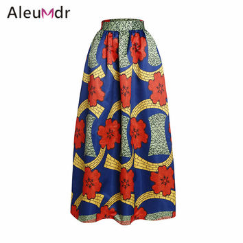Aleumdr Autumn 2017 High Waisted Skirts Womens Vintage African Print Long Maxi Skirt For Women LC65008 Saia Longa Cintura Alta
