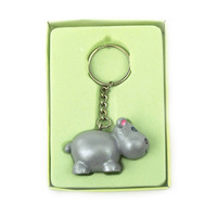 Safari Keychain Favors, 4-inch, Baby Hippo, Grey