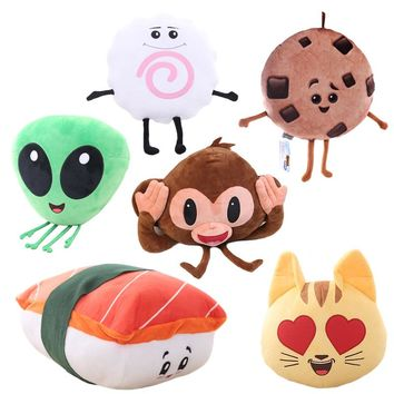 1pc creative emoji movie series plush toy Alienware, Sushi, Love Cat, Cookie, Monkey funny stuffed soft pillow cushion kids gift