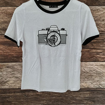 Camera Embroidered Tee
