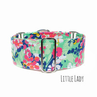 Floral Dog Collar, Green Garden Flowers, Handmade Custom Sizes, Small to Extra Large Sizes, Martingale Collar or Standard Clip Dog Collar