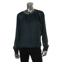 Rachel Roy Womens Georgette Long Sleeves Pullover Top