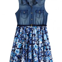 Denim And Floral Belted Dress | Girls Dresses Clothes | Shop Justice