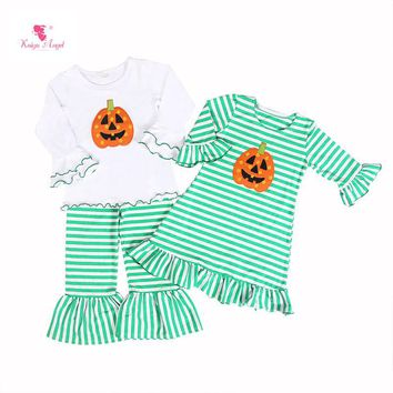 Kaiya Angel Hot Sales Back To School Girls Dress White Green Striped Pumpkin Printed Long-Sleeve Halloween CLothes For Children