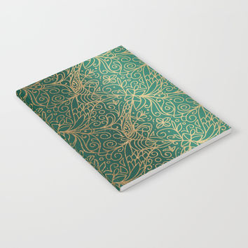 Gold and Green Tangle Pattern Notebook by Tanyadraws