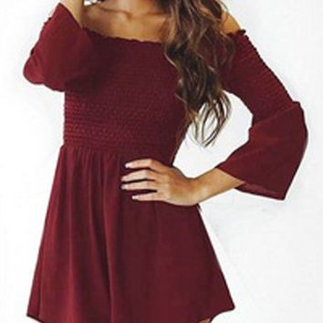Red Stretch Off Shoulder Puff Sleeve Romper