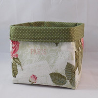 Pretty Roses and Paris Themed Fabric Basket For Storage Or Gift Giving