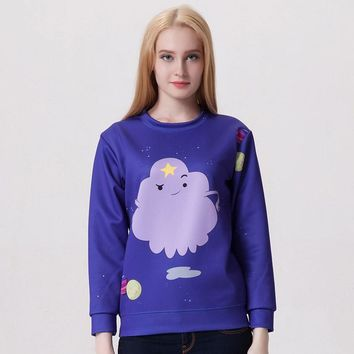 New Arrival 0002 Women Girl Adventure Time Lumpy Space Princess 3D Prints Walking Sweatshirt Suit Outside Workout Hoodies