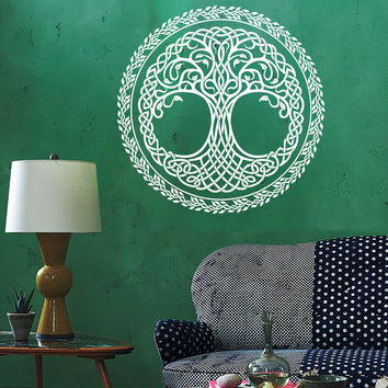 Vinyl Wall Decal Tree of Life Knot Pattern Leaves Irish Art Ireland Stickers Mural Unique Gift (ig4940)